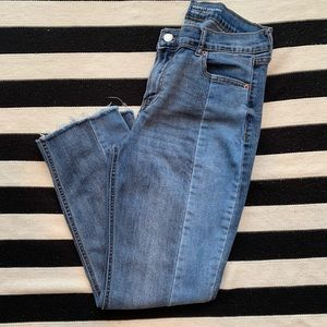 Old Navy- 2 Tone Perfect Straight Jeans w/ Raw Hem